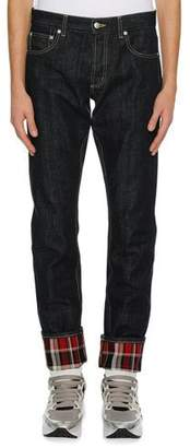 Alexander McQueen Men's Straight-Leg Jeans with Plaid Cuffs