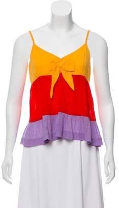 See by Chloe Pleated Colorblock Top