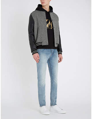 Saint Laurent Wool-blend and leather varsity jacket
