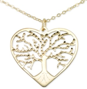 "Macy's Italian Gold Family Tree 18"" Pendant Necklace in 10k Gold"
