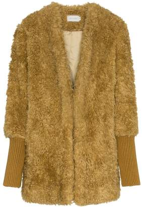 Low Classic single breasted ribbed cuff faux fur coat