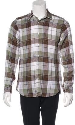 Etro Linen Plaid Woven Shirt
