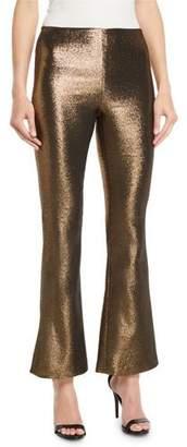 Alice + Olivia Kylyn High-Waist Back-Zip Flare Pants