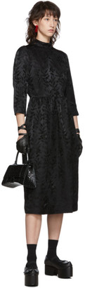 Noir Kei Ninomiya Black Jacquard Flower High Neck Dress