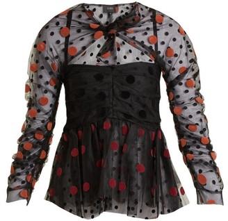 Isa Arfen Polka Dot Flocked Gathered Tulle Top - Womens - Black Multi