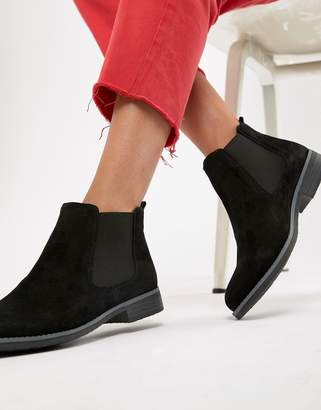 Dune Prompted Black Suede Flat Chelsea Boots