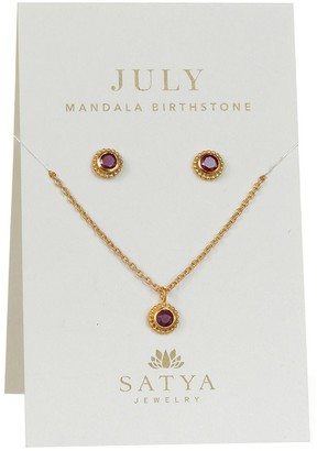 At Qvc Satya Birthstone Necklace Earrings Set Goldtone Br