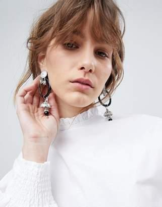 Asos Resin Hoop And Engraved Metal Drop Earrings