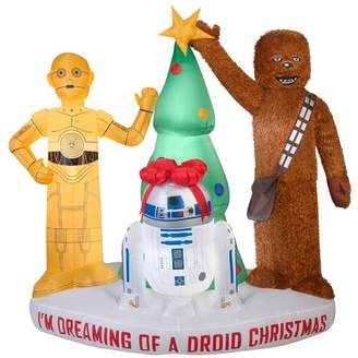 Star Wars Gemmy Industries Airblown Mixed Media Droids and Chewbacca with Tree Scene Large Inflatable