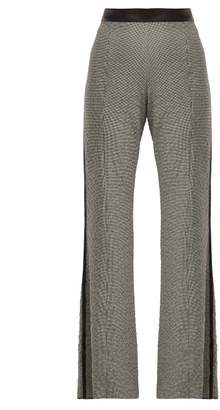 Loewe Houndstooth Leather Trim Trousers - Womens - Black White