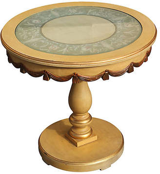 One Kings Lane Vintage Hand-Painted Side Table - Something Vintage