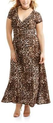 JOSEPH'S PLACE INC. Women's Plus Short Sleeve Knit Wrap Maxi Dress