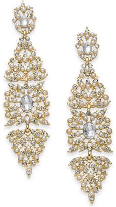 INC International Concepts I.N.C. Gold-Tone Crystal & Imitation Pearl Kite Drop Earrings, Created for Macy's