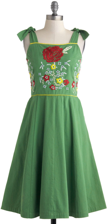 Knitted Dove Meet and Green Dress