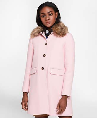 Brooks Brothers Faux-Fur-Collar Stretch Wool Twill Coat