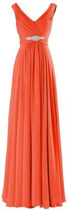 MaliaDress Women Long Chiffon Rhinestone Evening Bridesmaid Dress Prom Gown M0LF US