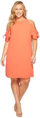 London Times Plus Size Cold Shoulder Swing Shift Dress Women's Dress