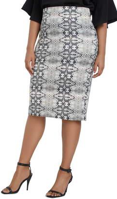 ELOQUII Snake Print Column Skirt