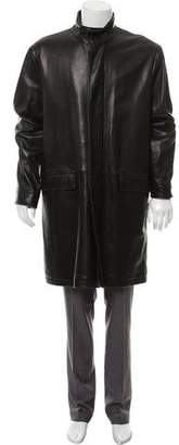 Theory Leather Zip-Up Coat
