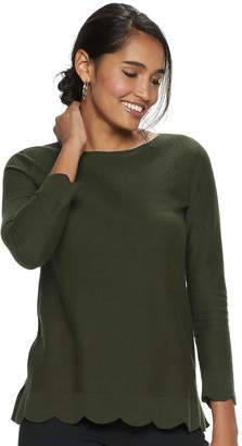 Elle Women's Scallop Hem Tunic Pullover Sweater