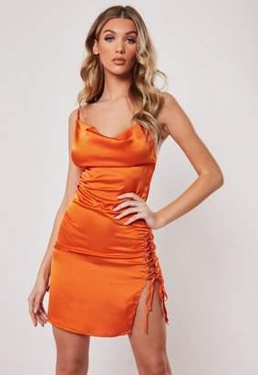 Missguided Orange Cowl Front Lace Up Satin Bodycon Mini Dress, Orange