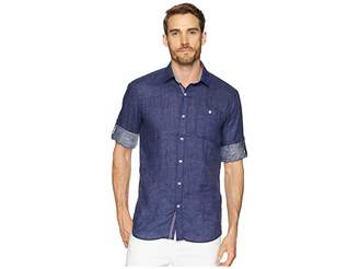 Bugatchi Shaped Fit Linen Shirt with Roll-Up Sleeves