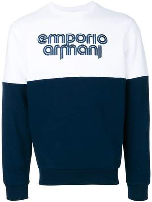 Emporio Armani color blocked logo sweatshirt