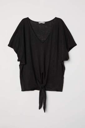 H&M Knot-detail Linen Top