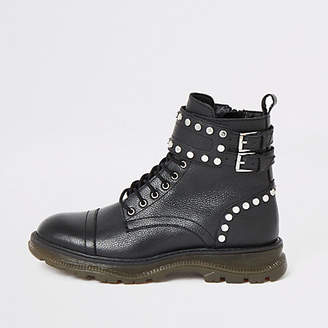 River Island Black leather studded lace-up hiking boots