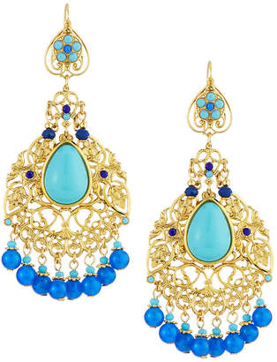 Jose & Maria Barrera Filigree Chandelier Earrings Blue