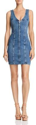 GUESS Zip-Front Denim Body-Con Dress