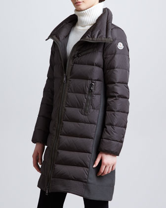 Moncler Long Puffer Coat with Knit Insets, Olive