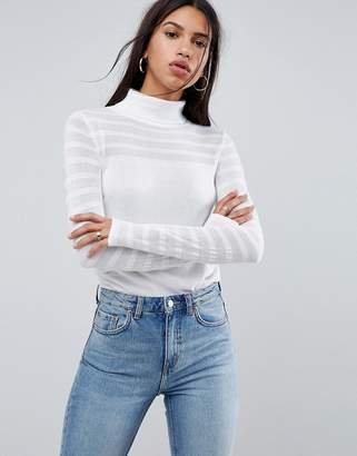 Asos DESIGN Sweater with Roll Neck and Sheer Panel Detail