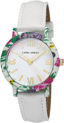 Laura Ashley Ladies White Band Floral Bezel Watch La31003Wt $345 thestylecure.com