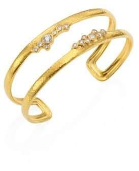 Gurhan Pointelle Diamond& 22K Yellow Gold Open Cuff