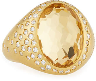 Roberto Coin 18k Yellow Gold Diamond & Oval Yellow Crystal Ring, 4.95tcw