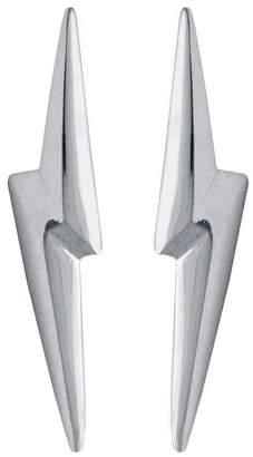 Lightning Bolt Edge Only - 3D Pointed Earrings Silver