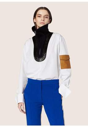 Derek Lam Long Sleeve Rib Neck Shirt With Leather Detail
