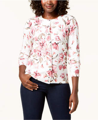 Karen Scott Floral-Print Cardigan Sweater, Created for Macy's