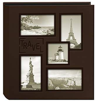 """Pioneer Sewn Embossed Collage Frame 5-Up Photo Album 12""""X12""""-Travel"""