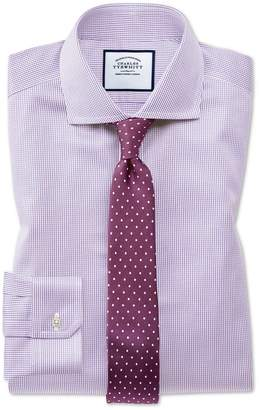 Charles Tyrwhitt Super Slim Fit Non-Iron Lilac Puppytooth Cotton Dress Shirt French Cuff Size 14/33