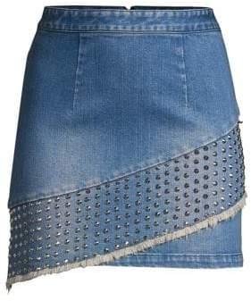 Alice + Olivia Nicole Studded Denim Fringe Skirt