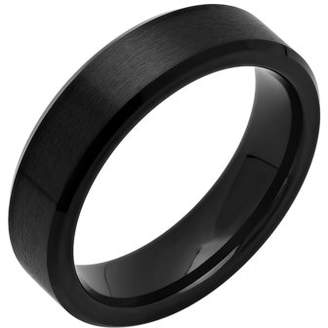Unbranded Mens Black IP Cobalt Satin Finish Wedding Band - Mens Ring