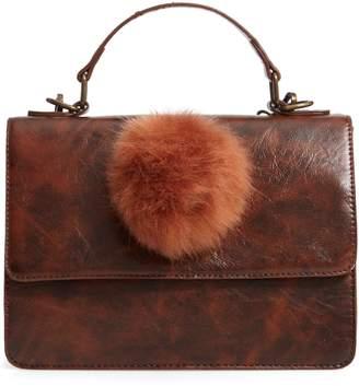 Muche et Muchette Eleanor Faux Leather Satchel with Faux Fur Pom