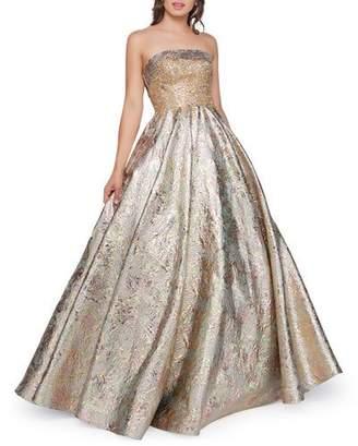 Mac Duggal Strapless Metallic Brocade Ball Gown
