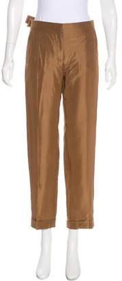 Valentino Silk Mid-Rise Pants