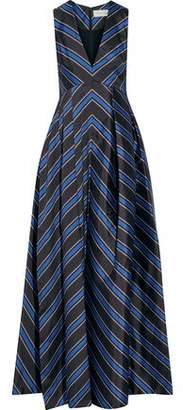 Sachin + Babi Amrita Pleated Striped Satin-Twill Gown