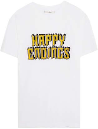 Ganni Harway Printed Cotton-jersey T-shirt - White