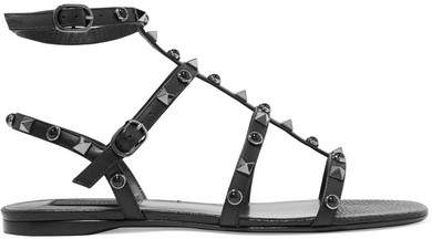 Valentino - Rockstud Leather Sandals - Black