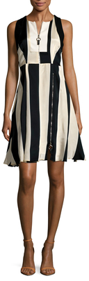 Max Mara Vello Striped Flared Dress